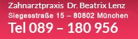 Zahnarztpraxis Dr. Beatrix Lenz, Elisabethstr. 57, 80796 München, Tel. 089 - 180 956